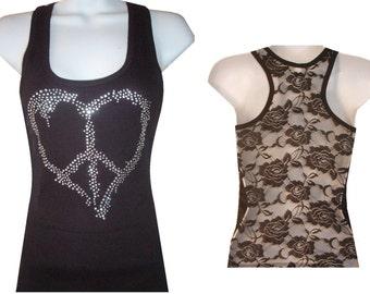 New Rhinestone PEACE Heart  Lace Back TANKTOP Shirst Blacks Size:S, To XL  Free Shipping