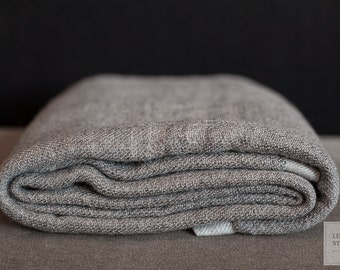 Grey Handwoven Wool Blanket with Light Grey Stripes