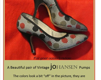 Vintage Pumps, 50's, 60's, Vintage High Heels, JOHANSEN, Vintage Shoes, size 7, Mad Men, Mid Century, Rockabilly, Kitten, 50's Heels, Swing