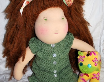 "SALE- Waldorf Doll: The Lovely Miss Vivian- Big Cheeks, Big Heart, 18"" with Beautiful & Brushable Auburn Hair"