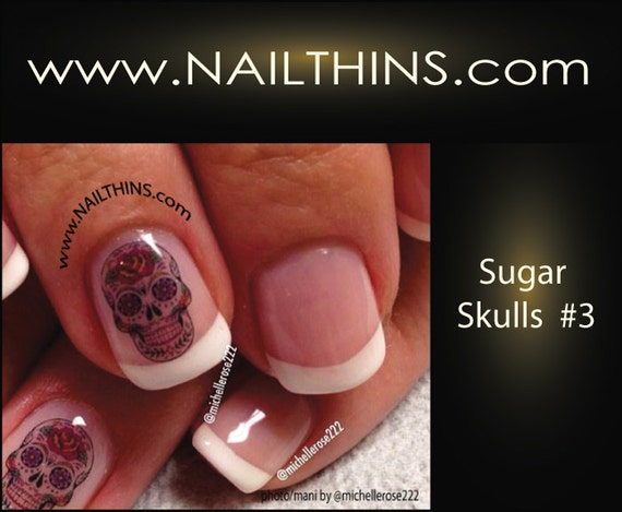 Nail Art Decal SUGAR SKULLS #3 Hearts n Roses Skull Nail Art Design