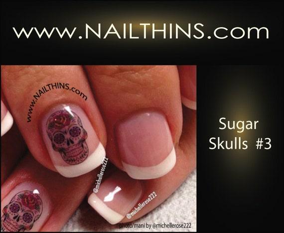 Nail Art Decal SUGAR SKULLS #3 Hearts n Roses Skull Nail Art Design