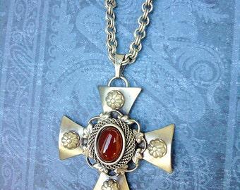 "Carnelian Medieval Mesh Cross 17"" Pendant"