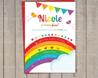 Rainbow Invitation / Rainbow Birthday invitation / Rainbow Party Invitation / Rainbow Invite / Printable DIY