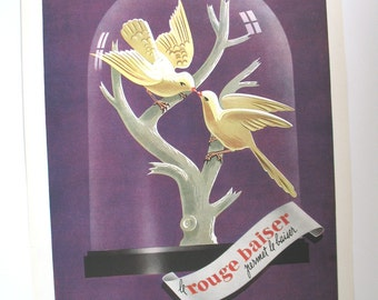 Le Rouge Baiser vintage advert, 1950s ad, Paul Boudecroux, P. Fix-Masseau artist, birds kissing picture, lipstick make-up cosmetics