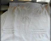 Large French vintage linen sheet, monogram D, emdroidery, art deco.