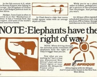 AIR AFRIQUE West Africa Original 1979 Vintage Print Ad - Air France; Ghana, Ivory Coast, Chad, Gabon, Senegal