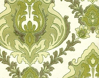 Vintage Wallpaper - Elegant Emerald Pattern - By the Yard