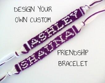 Custom Name Friendship Bracelet Custom Word Friendship Bracelet