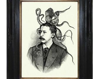 Victorian Gentleman with Octopus Kraken Squid Hat Art Print Tentacles Portrait Steampunk