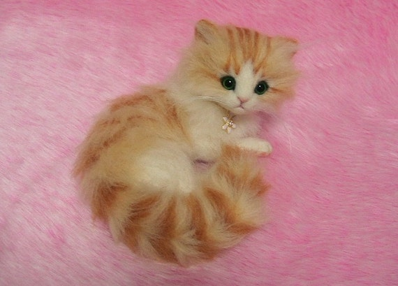 needle felted cute fluffy kitten miniature wool felt cat