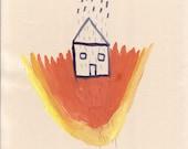 SALE Rainy Fire House (A4 original drawing)