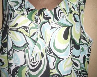 Plus Size Clothing, Plus Size Dress, Women Dress Tunic, Maternity Dress, Green Blue White, XXL Clothing, Knee Length Dress, OOAK