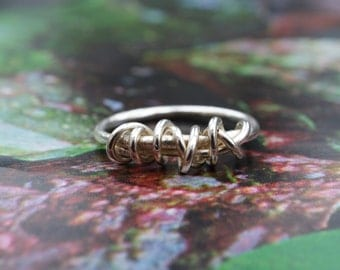 Handmade Sterling Silver Tangle Ring, wrapped ring