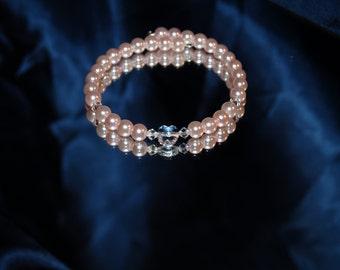 Pink Pearl  Swarovski Heart Crystal Heart Memory Bracelet