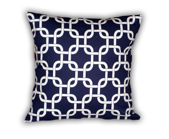 Decorative Pillows For Navy Couch : Home Decor Pillow Cover Couch Navy Throw Pillow by HomeMakeOver
