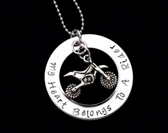 My heart belongs to a Rider - hand stamped pendant with necklace - ATV rider, Dirtbike rider
