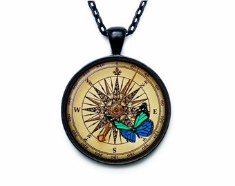 Steampunk compass pendant  ART PRINT Steampunk compass necklace Steampunk compass jewelry for men for her