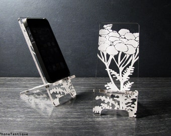 Acrylic Cell Phone Stand - 5 Sizes Custom Fit for iPhone 6, 6 Plus, iPhone 5, iPhone 4 and Universal Docking Station - Pod Flowers