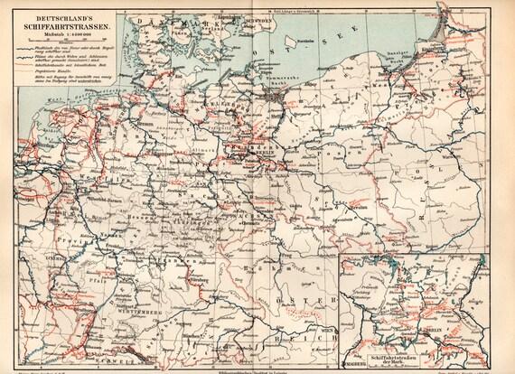 1900 deutschen wasserstra en antike landkarte deutschland. Black Bedroom Furniture Sets. Home Design Ideas