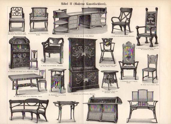 1899 liberty mobili mobili moderni seduta poltrona - Art nouveau mobili ...