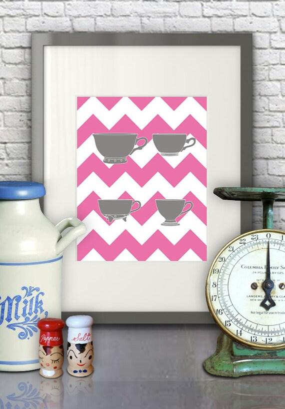 Https Www Etsy Com Listing 127940508 Measuring Cups Pink Chevron Kitchen Art