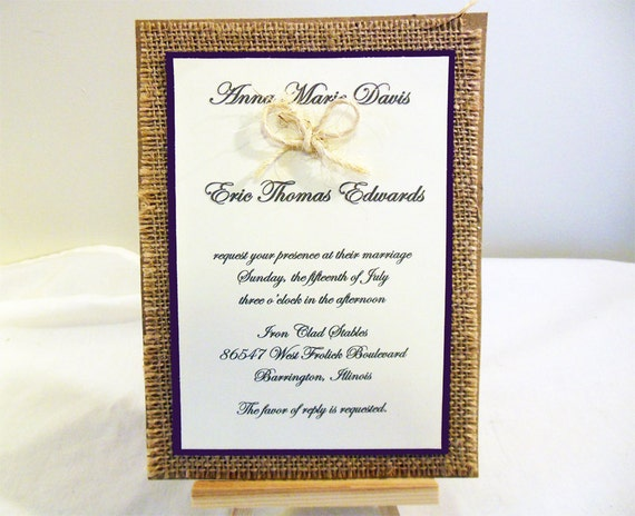 Wedding Invitations With Burlap: DIY Rustic Burlap Wedding Invitation KIT Custom Wedding