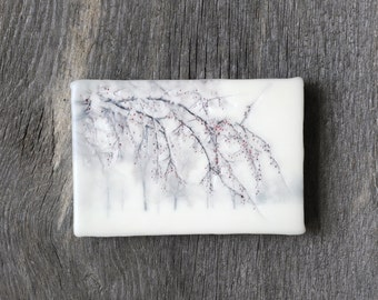 Original encaustic wall art. Encaustic Minnesota Winter Photography. Winter landscape. Crabapple tree. Snow. Monochromatic. 5x7