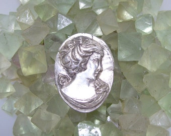 "REDUCED - Fine Silver CAMEO / 1.5"" x 1"" Silver Oval / Handmade Fine Silver Camero / Silver Jewelry Supply / PMC Clay Cameo / Silver Clay"