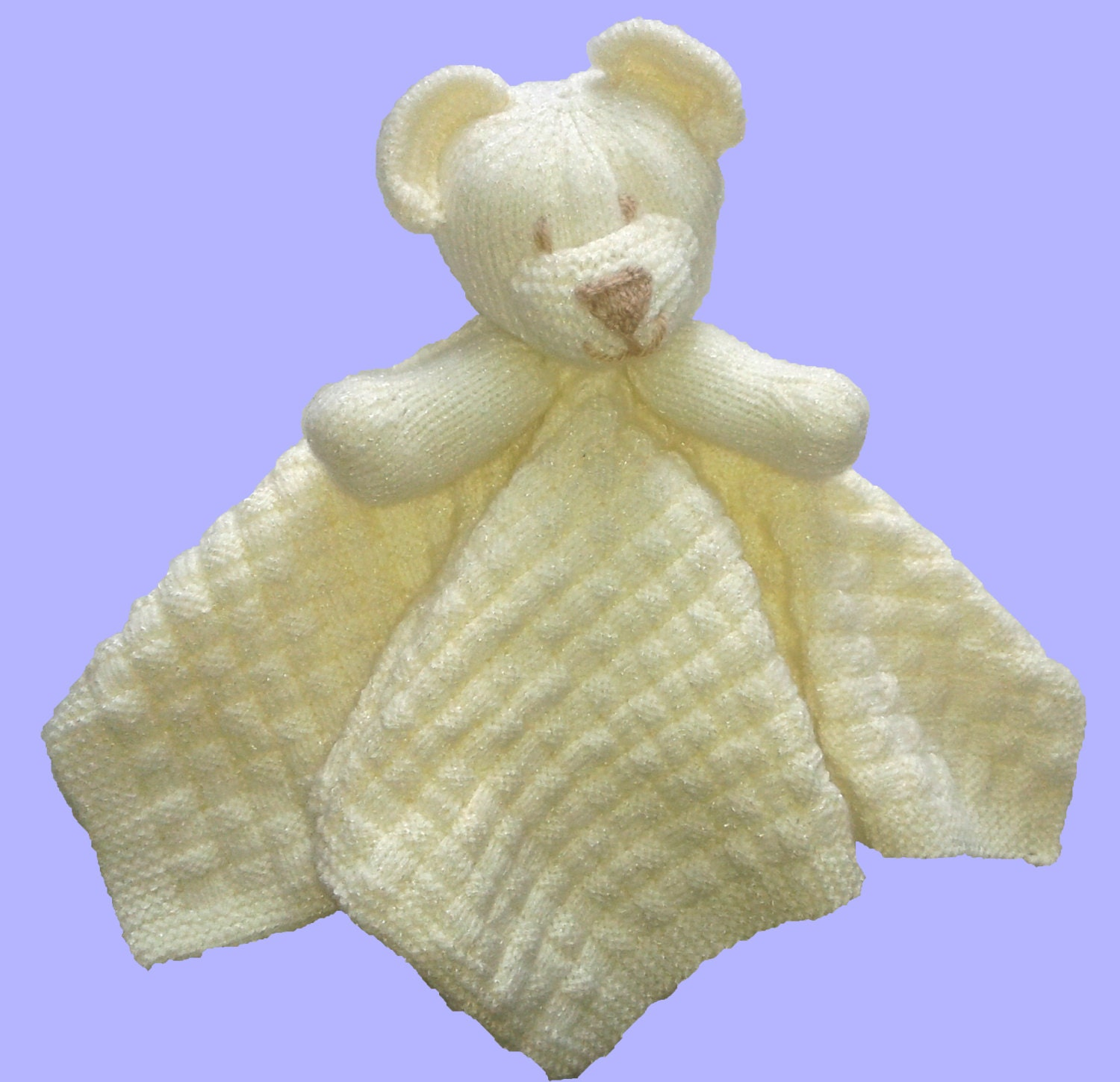 Knitting Pattern For Security Blanket : Childs Bear Comfort Blanket Knitting Pattern Download