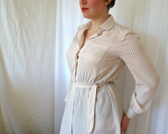 Secretary Shirt Dress White Vintage 70s Schrader Sport Dotted Swiss Fabric Belted Medium