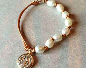 Pearl and Leather Bracelet with St. Benedict Medal Copper Leather