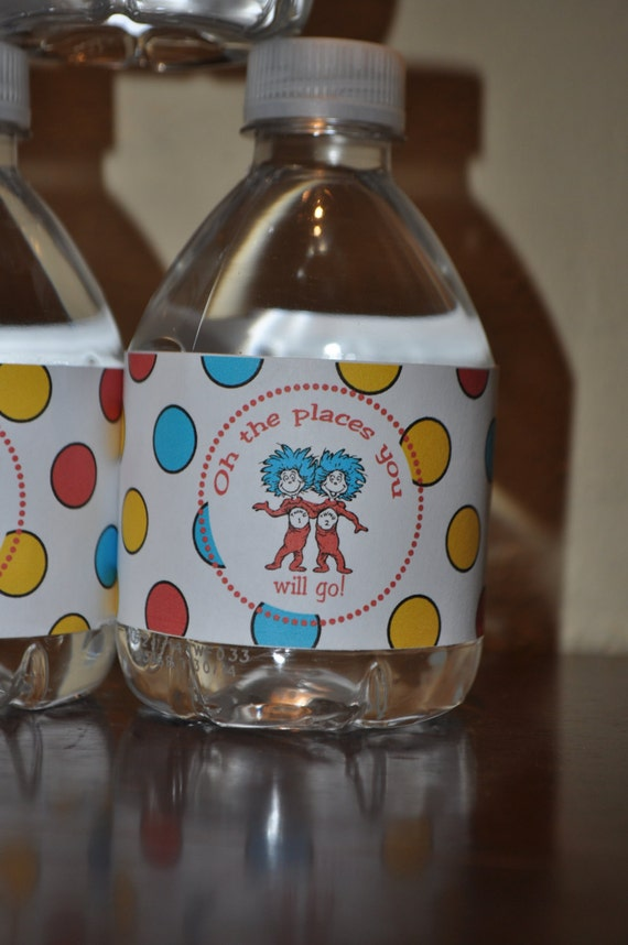 Printable Dr. Suess inspired Water Bottle Label Oh the Places You Will Go Instant Download