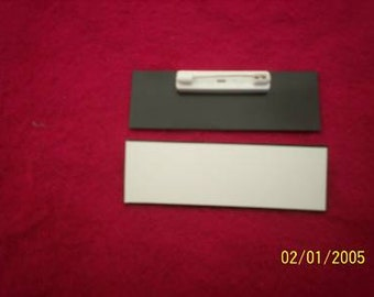 20 White beveled, 1x3 inch, blank engraving plastic, name badges with free pins
