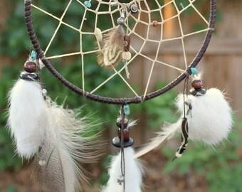 Dreamcatcher, Chocolate and Turquoise, Native American, Handmade (Medium)