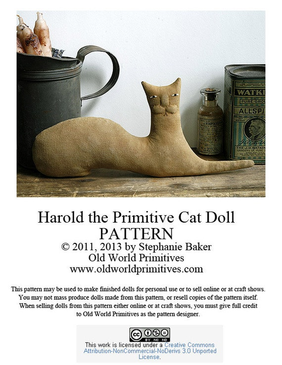 Primitive E Pattern Harold The Primitive Cat Doll Pdf File