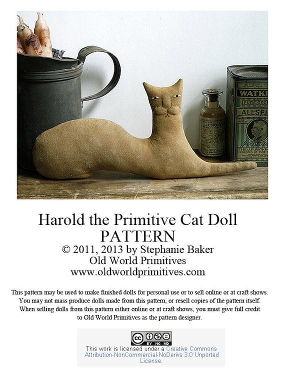 Primitive E-Pattern - Harold the Primitive Cat Doll - PDF File Digital Download