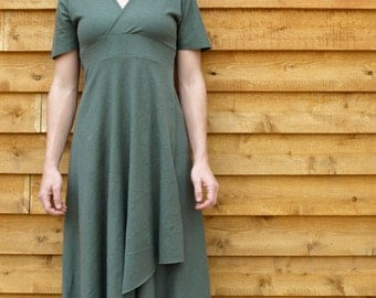 Pearl Dress ~ Lightweight Hemp & Organic Cotton Full Length V-Neck ~ Made to Order