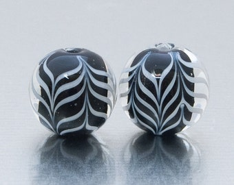 Lampwork Glass Bead Pair - Chevron in black and white. Lampwork by Jennie Yip