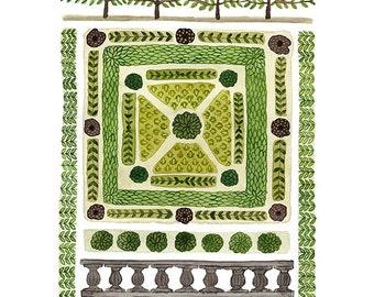 Knot Garden No. 3 Print, giclee art print, spring garden, watercolor reproduction print, botanicals