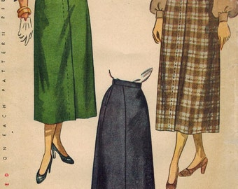 1940s Simplicity 2624 Vintage Sewing Pattern Misses' Skirt Size Waist 30