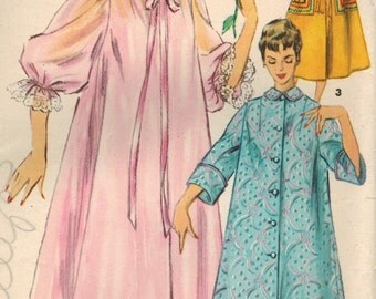1950s Simplicity 4972 Vintage Sewing Pattern Misses Duster Negligee Housecoat Bust 30, Bust 34, Bust 38