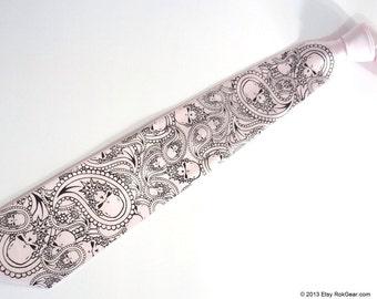Custom color neckties print to order, mens skull paisley tie