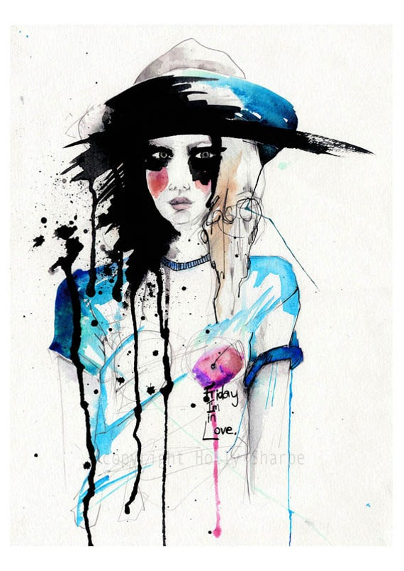 Friday // WATERCOLOR and INK // Giclée print from an original // fashion illustration by Holly Sharpe