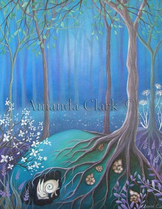 A fairytale  art print titled 'Sleeping'