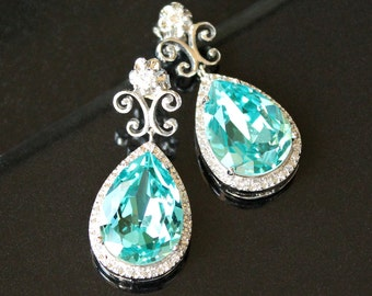 Sparkly Blue Green Teardrop Crystals Surrounded with Halo CZs on Ornate Sterling Silver Post Earrings