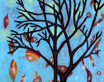 "Whimsical Tree Print, Tree Art, Star Print - 8"" x 8"" - Starlight, Starbright"