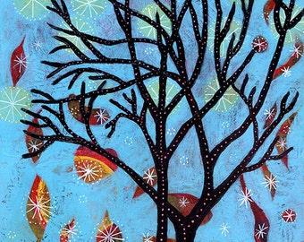 "Whimsical Tree Archival Print - 8"" x 8"" - Starlight, Starbright"