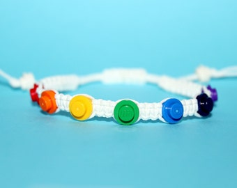 Rainbow Pride Bracelet made from LEGO® Pieces and White Cord, Gay Pride Bracelet, Rainbow Bracelet