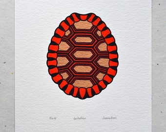 Tortoise Shell / Testudines 'specimen' - Limited edition three-colour screenprint with hand-coloured details (bronze)